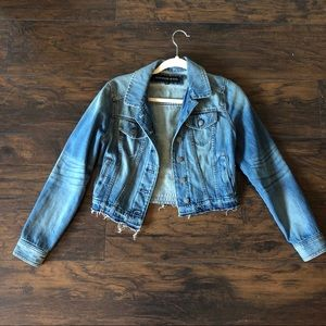 Express Frayed Hem Denim Jacket